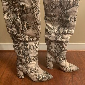 Leather Snake Print Boots